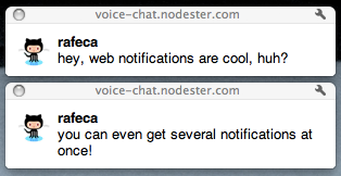 Example of a web notification